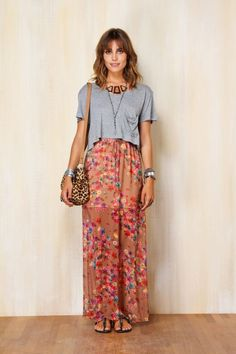 Sweet floral maxi, relaxed grey cropped tee, leopard print cross body, stacked sterling. Farm Rio.