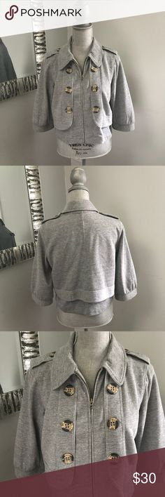 Mike & Chis Gray Short Sleeve Jacket Mike & Chris Jacket in Great Condition! No known stains or flaws. Jackets zips up and has buttons on front and top of sleeves. Mike & Chris Jackets & Coats
