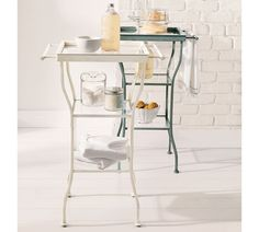Painted Metal Accent Table, Large - contemporary - side tables and accent tables - Pottery Barn Sunroom Furniture, Sectional Furniture, Modern Outdoor Furniture, Furniture Upholstery, Bathroom Furniture, Home Furniture, Metal Accent Table, Accent Tables, Bathroom Table