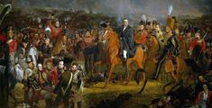 Duke of Wellington and his staff at the Battle of Waterloo on June 1815 with the Prince of Orange wounded in the bottom left corner Waterloo 1815, Battle Of Waterloo, Painting Tools, Car Painting, Arthur Wellesley, Prince Of Orange, I Amsterdam, Fresh Image, Famous Words