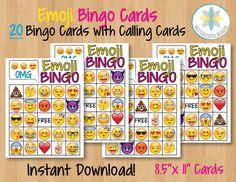 Emoji Printable Bingo Cards 20 Different by ButterscotchDesign