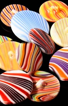 Bright, Czech, vintage, striped, glass, buttons.