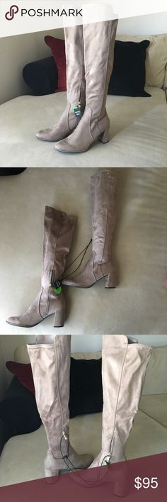 740e3f86938 NWT Liz Claiborne Taupe Over the Knee Boots NWT and box