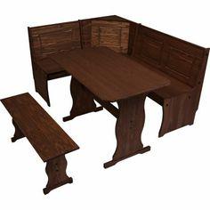 Puerto Rico 3 Corner Bench Nook Dark Pine Table Set At Homebase