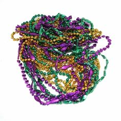 """The assorted 48"""" Mardi Gras beads are a great buy, perfect for throwing from parade floats and larger than the average throw bead.  All of these beads are 48"""" long and come in assorted Mardi gras colors.  The 48"""" beads will also have a variety of designs from hearts, to fish, to dice shapes.  The 48"""" Mardi Gras beads are a step above the classic throw bead. $4.59 Classic Throws, Parade Floats, Mardi Gras Parade, Mardi Gras Beads, Dice, Party Supplies, Party Favors, Beading, Larger"""