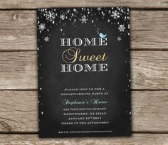 Winter Housewarming Party Invitation - Home sweet home, love bird, DIY, printable, snowflake, chalkboard