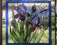 """Purple Iris with Buds-- 28 3/4"""" x  28 3/4""""--Stained Glass Panel"""