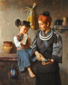 JIE WEI ZHOU NEW SHOES oil on canvas 30 x 24 in (76.2h x 60.96w cm) $13,500