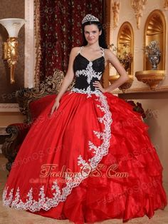 Gorgeous Red and Black Quinceanera Dress V-neck Floor-length Taffeta and Organza Appliques Ball Gown  http://www.fashionos.com  Some dresses were specifically created to make a lasting impression. This one is a perfect example. It features a stunning and fabulous bodice with straps. And the bodice hugs your body well. The skirt is in a totally different color, classical red and black perfectly combined,making it eye-cathching.