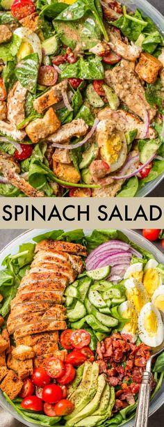 Fresh Spinach Recipes, Avocado Salad Recipes, Best Salad Recipes, Chicken Salad Recipes, Salad With Avocado, Chicken Appetizers, Crab Salad, Easy Recipes, Keto Recipes