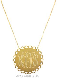 Monogrammed 24 Carat Gold Plated Sterling Silver Scallop Necklace