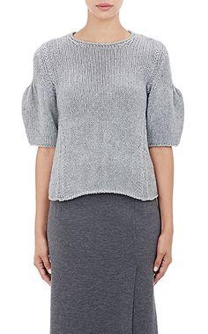 Ryan Roche Puff-Sleeve Sweater - Crewneck - Barneys.com