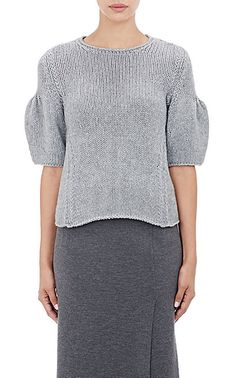 Ryan Roche Puff-Sleeve Sweater - Crewneck - Barneys.com