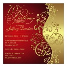 Red Gold 70th Birthday Party Invitation Wording Invites Elegant Invitations