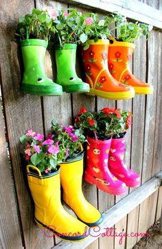 rainboot garden, flowers, gardening, outdoor living, repurposing upcycling