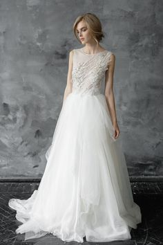 AsteriaHand Embroidered Tulle Wedding Gown byMywony Bridal | Fine Art Wedding Details #affiliatelink #fineartwedding