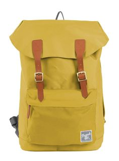 Yellow G.Ride backpack. Material polyester 300D. 1 Compartment with snap buttons closure. Inside pocket for iPad Air and zipped pocket. Lateral zip for easy access. Front sueded patch. Expandable zipped compartment at the bottom of the backpack. Reinforced base. High density back and shoulder straps. Size: 28 x 12 x 42 cm