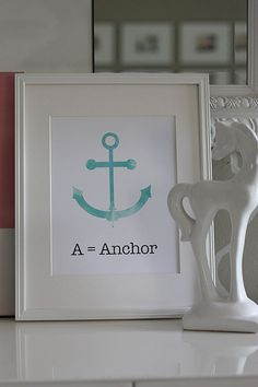 Kids Art Print  A is for Anchor by GoodGirlGoneGlad on Etsy, $16.00