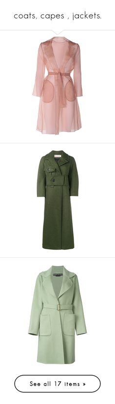 """coats, capes , jackets."" by julidrops ❤ liked on Polyvore featuring outerwear, coats, jackets, dresses, marrone, maxmara coat, collar coat, maxmara, silk coat and green"
