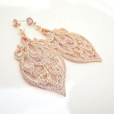 Rose Gold Bridal earrings Art Deco Wedding by treasures570 on Etsy