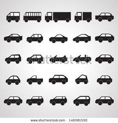 Car Icons Set - Isolated On Gray Background - Vector Illustration, Graphic Design Editable For Your Design.  by Milos Dizajn, via Shuttersto...