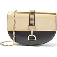 Lanvin Lien metallic-paneled leather shoulder bag (23.172.575 IDR) ❤ liked on Polyvore featuring bags, handbags, shoulder bags, gold, man bag, beige leather handbags, purse shoulder bag, man shoulder bag and leather handbags