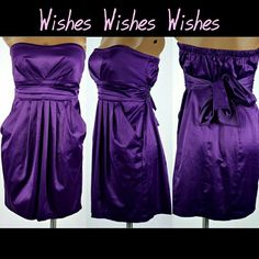 Gorgeous Satiny Purple Cocktail Dress This dress was never worn and is in perfect condition! Ready to dance all night! Wishes Wishes Wishes Dresses Strapless