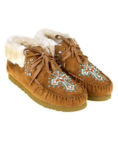 This Brown Studded Cross Faux-Fur Lined Moccasin is perfect! #zulilyfinds