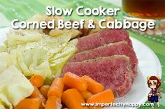 Easy Slow Cooker Corned Beef and Cabbage Recipe. All the flavor of the traditional meal right from your crock pot! |ImperfectlyHappy.com