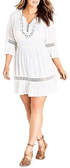 0176aae2e02 Plus Size Embroidered Bell-Sleeve Dress  plussize Bell Sleeve Dress