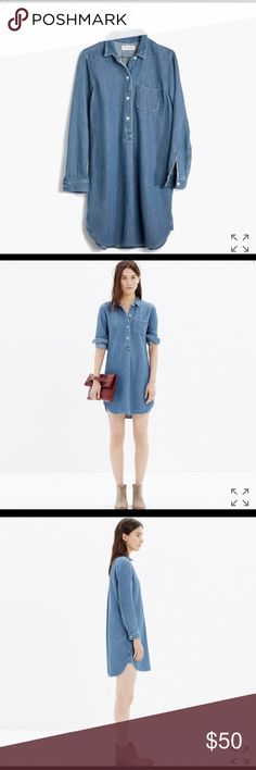 """Madewell Chambray Popover Shirtdress PRODUCT DETAILS Love our chambray shirts? Try this dress version and thank us later. (We're especially into the special double-faced fabric that has a built-in checked lining—just try to resist rolling your sleeves.)    True to size, shirtdress. Falls 36"""" from shoulder. Cotton. Machine wash. Import. Item B6058. Madewell Dresses Long Sleeve"""