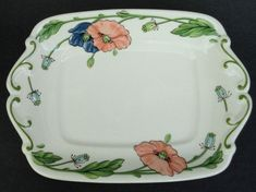 Villeroy Boch #Butter #Plate Small Tray 8x6in Amapola Coral Blue Poppy Germany #VilleroyBoch #Classic