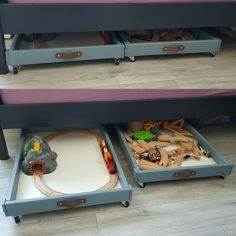 Under bed storage made of IKEA Sniglar Changing Table #ikea #ikeasniglar #ikeahack #storage #underbedstorage #toystorage #kidsroom