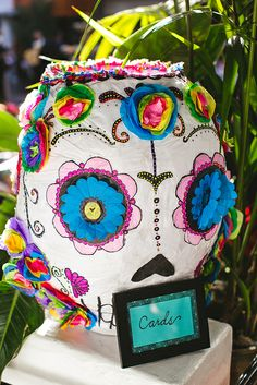 Sugar Skull Pinata card box- HECTOR and JESSICA's  Fiesta wedding at El Paseo Mexican Restaurant in Santa Barbara, CA, designed by www.artandsouleventsla.com, and featured on @Jessica Massoth Bride