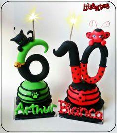 """Vela numeral estilizado, confeccionada artesanalmente em biscuit, para topo de bolo, inspirada no desenho, """"Ladybug Miraculous"""" *velas exclusivas Liliartes/não é permitido cópia. Plágio não é legal! Criação e execução: Liliane Bradbury (ateliê Liliartes) Técnicas utilizadas:Modelagem em biscui..."""