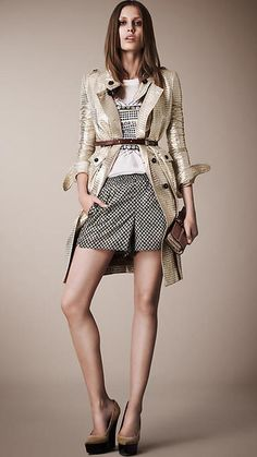 Metallic Jacquard Trench Coat