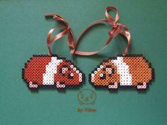 Hama bead guinea pig Xmas tree ornaments (on Etsy) by VilDeviant