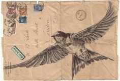 Bic Biro drawing on 1934 envelope. by mark powell, via Behance