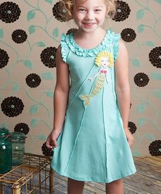 Look what I found on #zulily! Aruba Blue Mermaid Angel-Sleeve Dress - Toddler & Girls #zulilyfinds