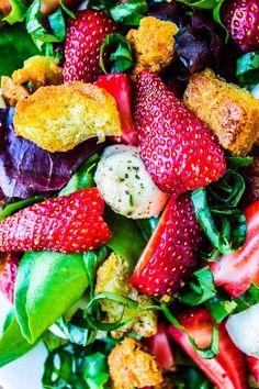 Strawberry Cucumber Salad with Honey Balsamic Dressing - The Food Charlatan Salad Bar, Soup And Salad, Mozzarella Salad, Fresh Mozzarella, Clean Eating Recipes, Cooking Recipes, Honey Balsamic Dressing, Panzanella Salad Recipe, Lemon Asparagus