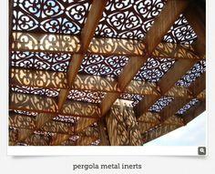 Decorative metal panels for arbors.