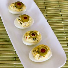 Kalyn's Kitchen®: Recipe for Deviled Eggs with Green Olives, Capers, and Dijon