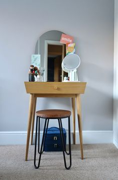 Perfect dressing table for small bedrooms. {Gifted-Ad} some of the products mentioned were gifted by Beautify Guest Bedrooms, Girls Bedroom, Master Bedroom, Small Bedrooms, Grey Upholstered Bed, Bedroom Dressing Table, London House, Under The Table, Girl Decor