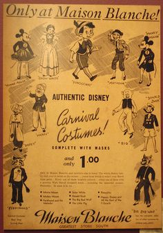 A 1940's ad for Disney carnival costumes at New Orleans' Maison Blanche