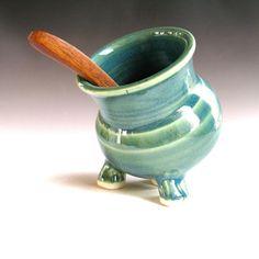Green Ceramic Salt pig - Salt Cellar -  handmade pottery