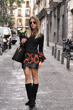 glam4you - nati vozza - chamois - bolsa - celine trio - botinha - boots - farm - look - blog - azul -dior - lady dior - madrid - dvf - mixed - estampa - saia