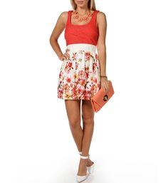 Coral Crochet Floral Dress