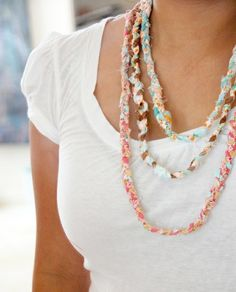 T-shirt crafts -- necklace, bracelet, and scarfs.  These necklaces are great for Summer! lightweight, cheap, and basically disposable so you won't cry if it gets lost rafting!