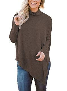 d12191f84 New Hount Womens Long Batwing Sleeve Pullover Tunic Top Turtleneck  Hankerchief Hem Loose Casual Blouse online