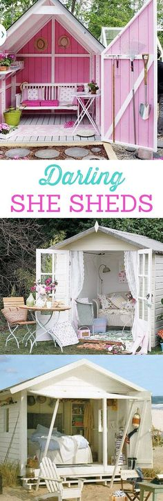 Darling She Sheds for every girl! Dream spaces for women. Must see these cute sheds, mini houses, office spaces and tree houses! The more pink, the better. http://LivingLocurto.com